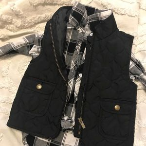 Toddler puffer vest and plaid button up
